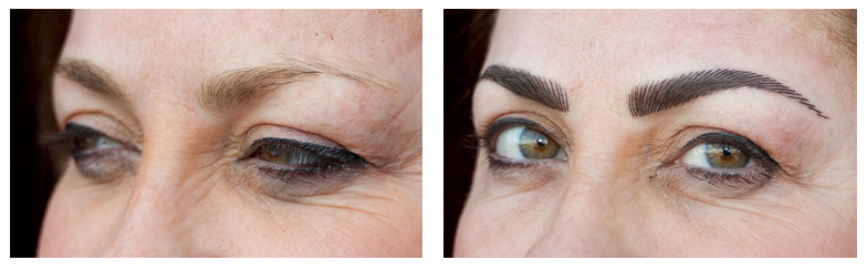 before and after eyebrow tattooing